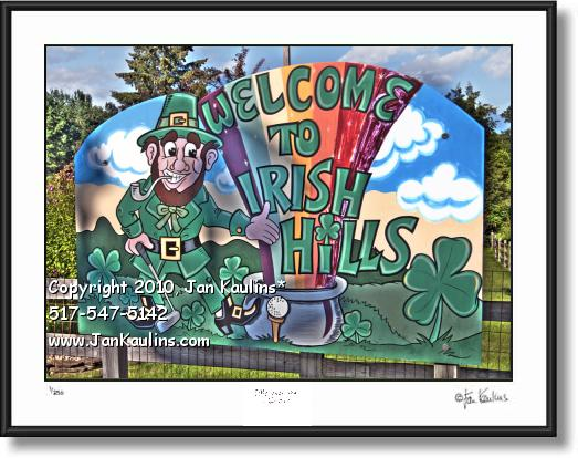 Click on this image to see an enlarged view of WELCOME TO IRISH HILLS sign photo art print.