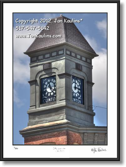 Click on this image to see an enlarged view of CLINTON MI CLOCK TOWER Clinton MI photo art.