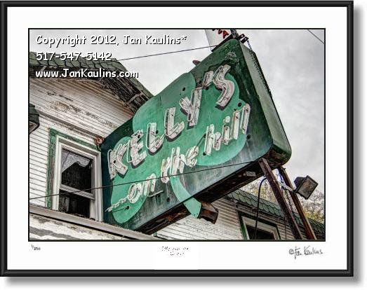 Click on this image to see an enlarged view of KELLY'S ON THE HILL Sign Irish Hills MI photo art.