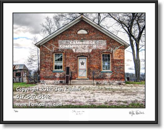 Click on this image to see an enlarged view of Old Schoolhouse Irish Hills art CAMBRIDGE HALL .