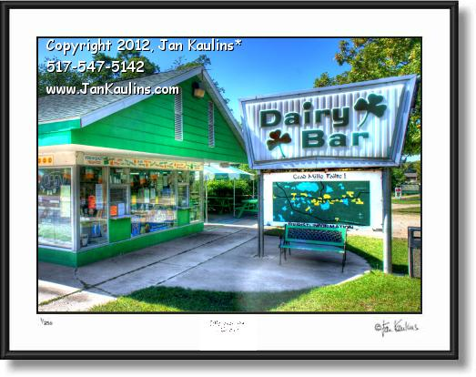 Click on this image to see an enlarged view of IRISH HILLS DAIRY BAR photo picture art print .